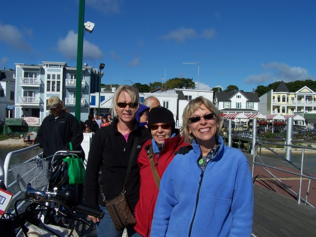 Me, Mom and Bridget waiting for the ferry home, ugh...