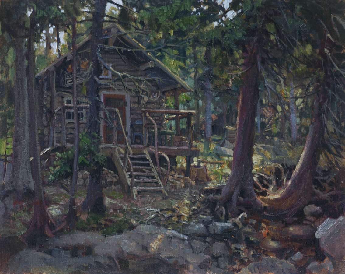Log cabin in the woods painting -  The