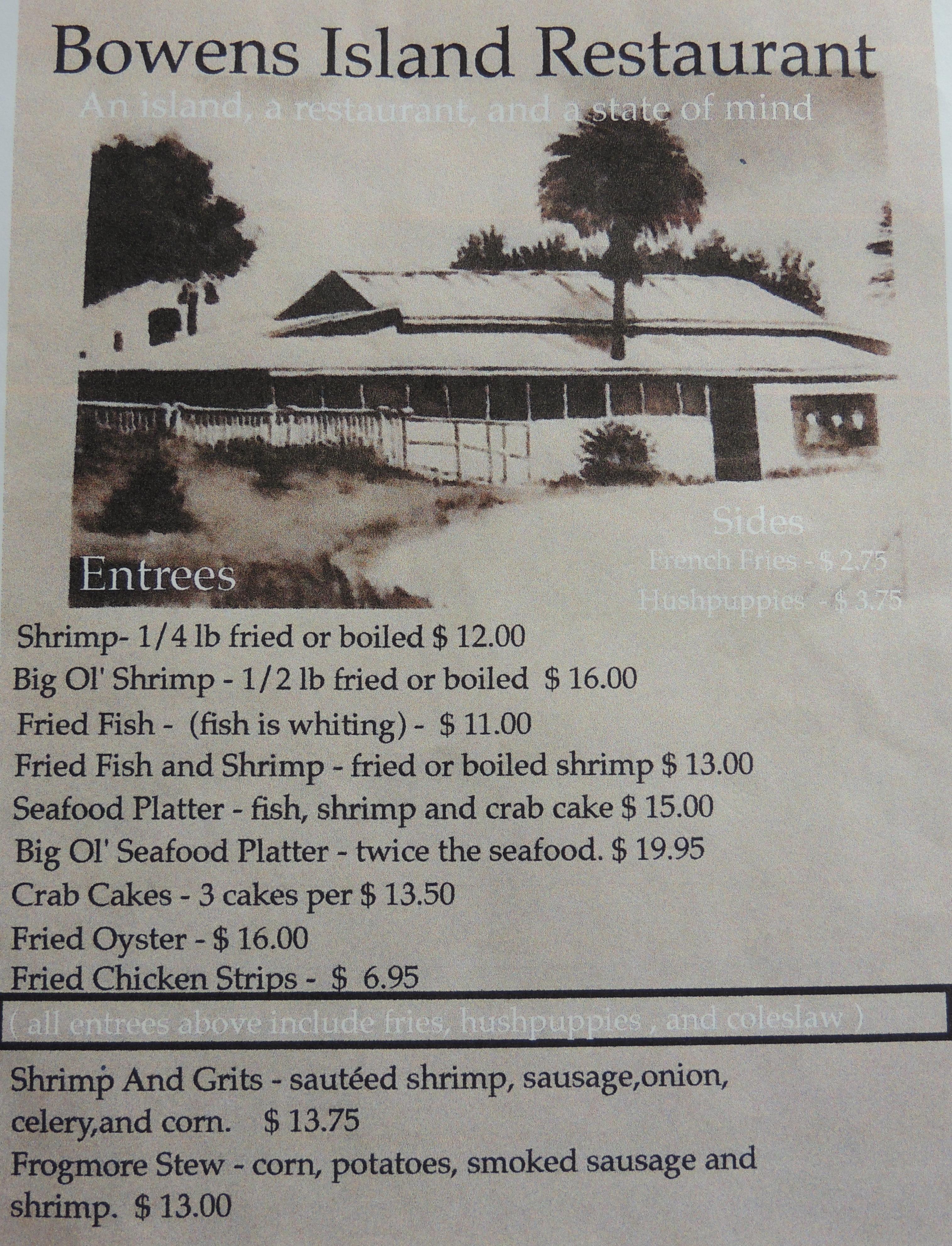 Bowens Island Restaurant Menu