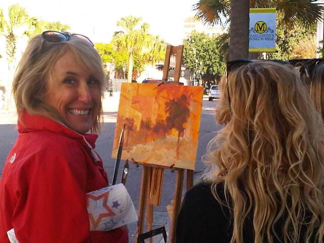 Laurie Meyer at CFADA painting in the park… Charleston, SC 2011