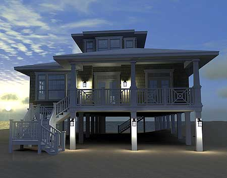 House plan low country beach house plan w44091td by for Piling home designs