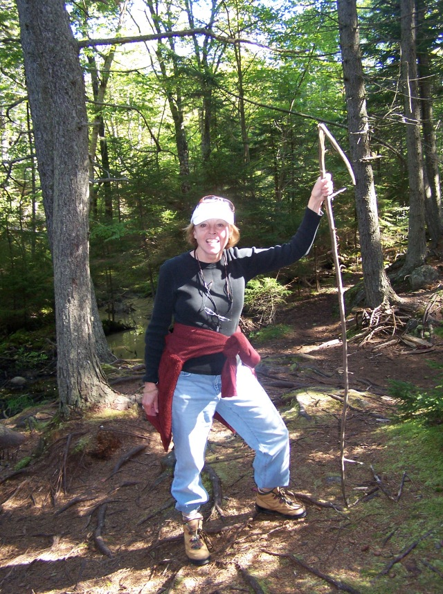 mom hiking monhegan w stick 2009