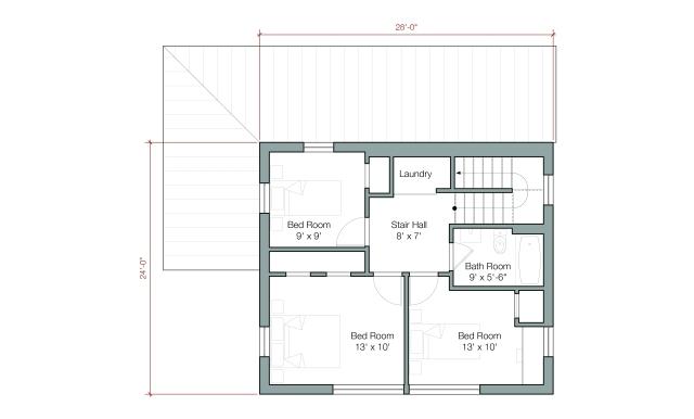 """GOLogic """"GO Home"""" Upper Level - 1500 square feet, 2 floor/3 bedroom - Image via: GOlogic.us"""