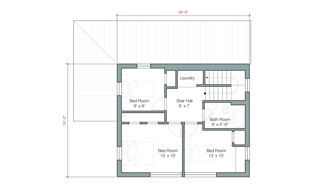 "GOLogic ""GO Home"" Upper Level - 1500 square feet, 2 floor/3 bedroom - Image via: GOlogic.us"