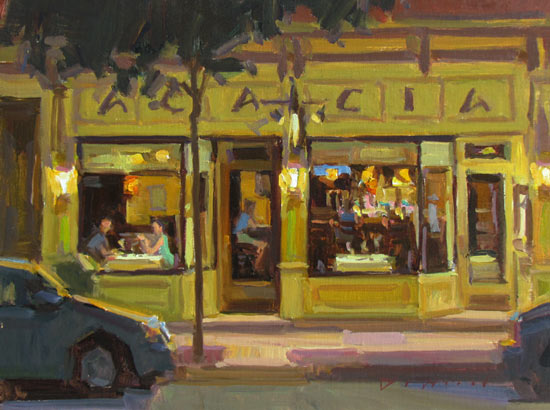"""Acacia, Night on the Town"" by Ken DeWaard - Won Best Architectural painting at Easels of Frederick, MD!"
