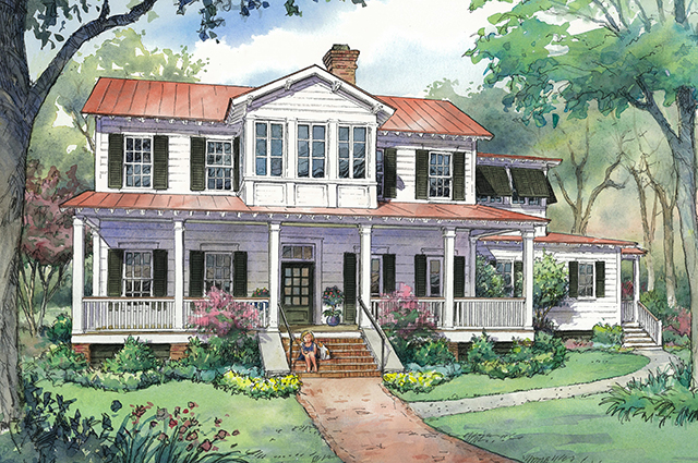 H o u s e p l a n new vintage lowcountry a southern for Low country farmhouse plans
