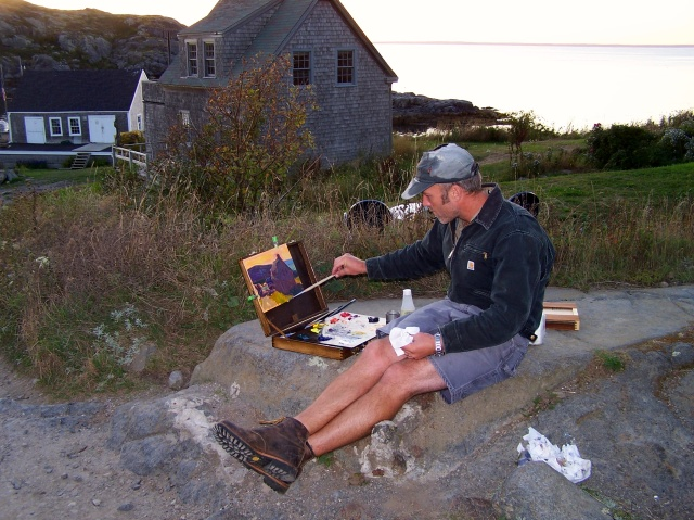 Tim Bell painting on Monhegan