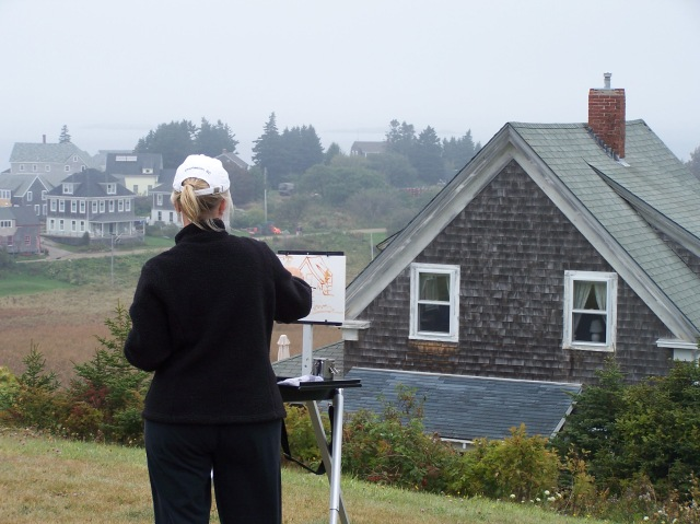 Barbara Stroud painting on Monhegan