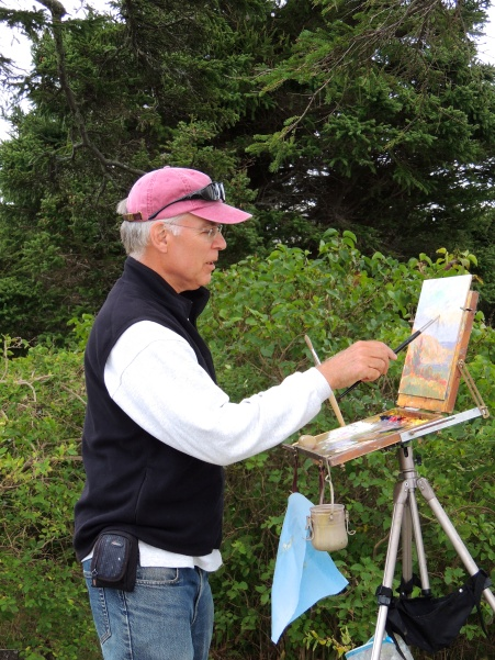 John Oat painting near Horns Hill (Monhegan)