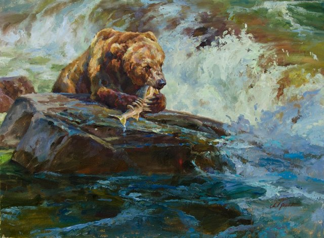 Painting by 2014 Featured Artist, Chad Poppleton - Image via Southeastern Wildlife Expo Facebook