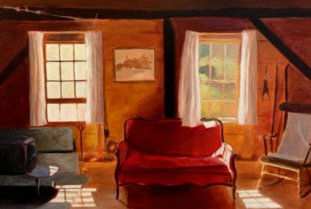 """Red Couch by Alice Kirkpatrick 24x36"""" Acrylic on Canvas"""