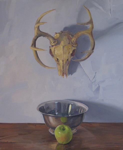 """Deer Skull on Blue by Sarah Sedwick 23x28"""" Oil on Canvas -Available"""