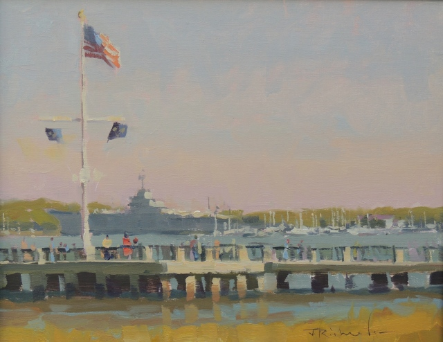 "Along the Waterfront by James Richards 11x14"" Oil"