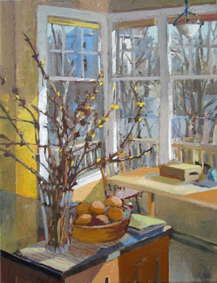 "Forsythia Spring by Carole Rabe 24x18"" Oil"