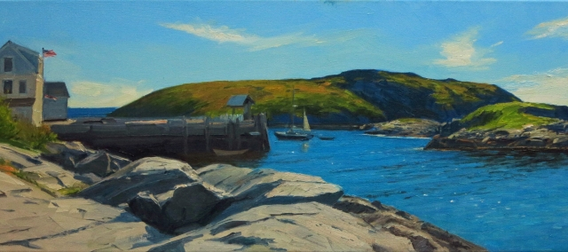 "Manana from the Barnacle by Kevin Beers 13 x 40"" Oil"