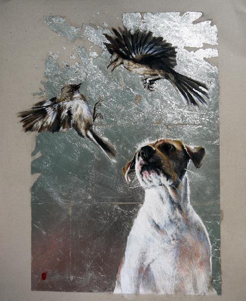 "Ella & the Mocking Birds 18x22"" Pastel & Silverleaf on Paper"