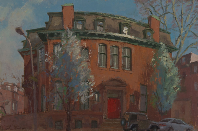 The Red Door on 21st Street Oil on Panel 16x24""