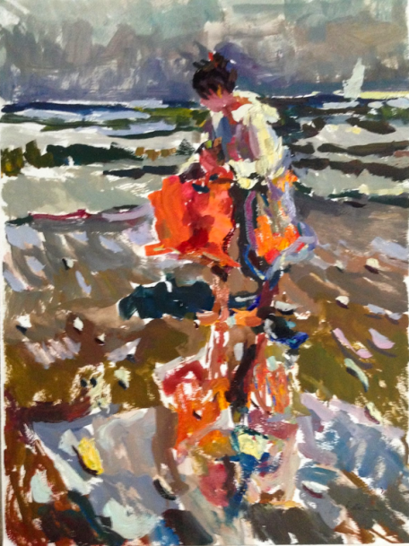 Study for Child and Mother with Red Towel 24x18, oil on paper