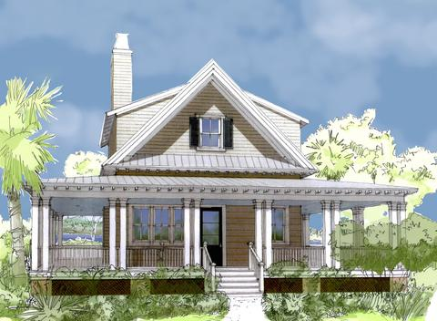 House plan curlew cottage by flatfish island designs for Island cottage house plans
