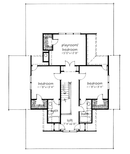 House plan four gables sl 1832 a southern living plan for Southern living house plans with keeping rooms
