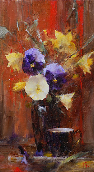 "Pansies by Laura Robb 16x9"" Oil"