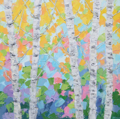 "Dancing Birch Trees No. 2 by Ann Marie Coolick 30x30"" Acrylic on Canvas"