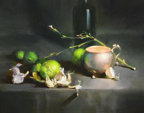 """Silver, Garlic, and Limes by Carol Tarzier 12 x 14"""" Oil on Canvas Panel"""