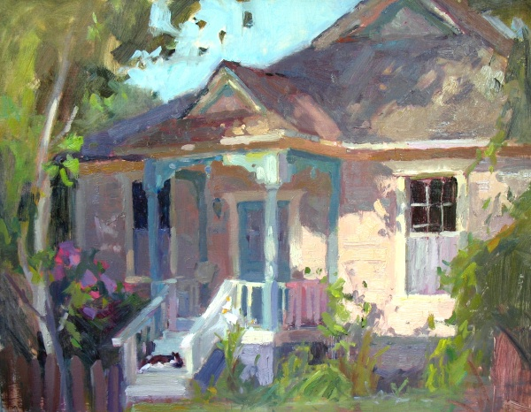 Cottage & Cat by Jeanette LeGrue 12x16""