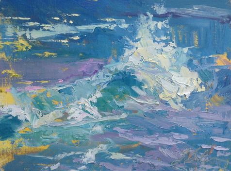 """Waving to the Folds On Shore by Suzie Baker 9x12"""" Oil"""