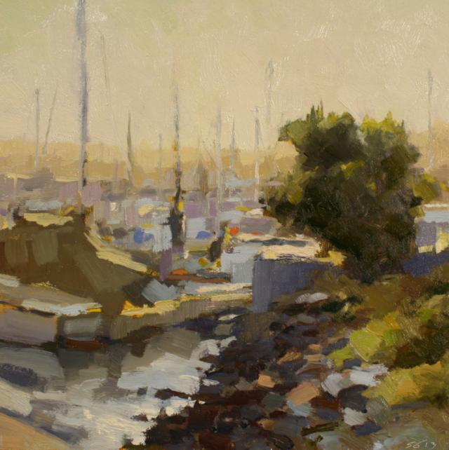 "Marina Sunrise by Scott Gellaty 12x12"" Oil"