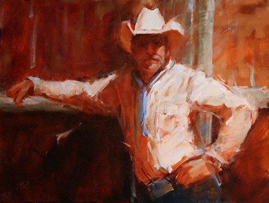 "Ranchman by Donna MacDonald 20x28"" Oil"