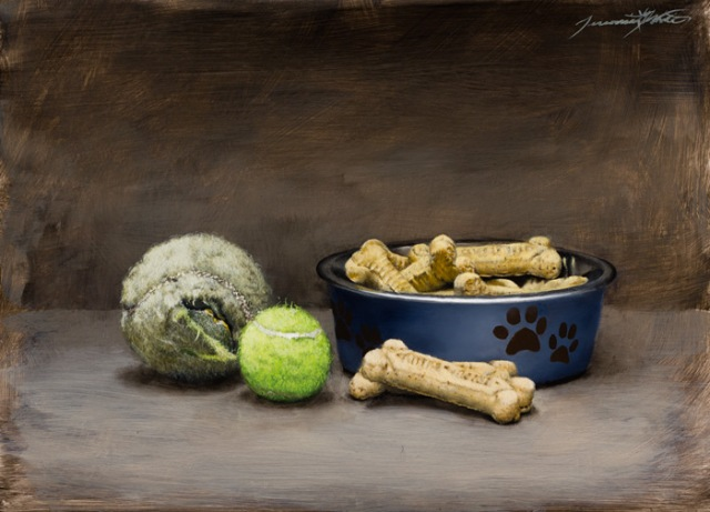 """Happy Dog by Jeremiah J White 9x12"""" Oil on Panel"""