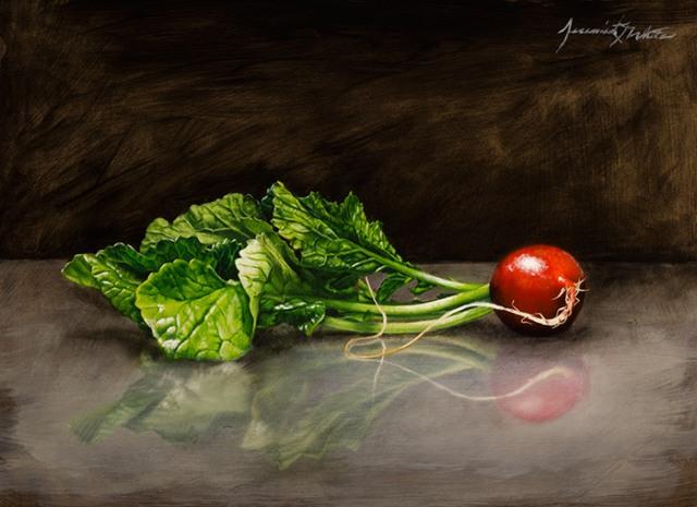 "Radish by Jeremiah J. White 9x12"" Oil on Panel"