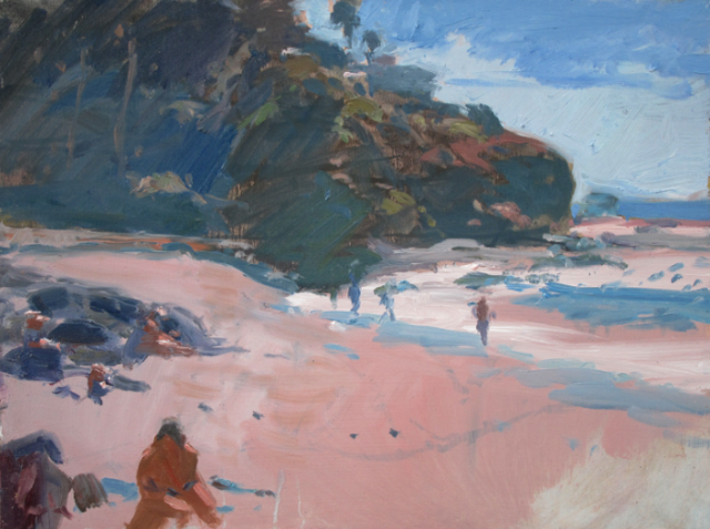"Sunny Day at the Beach by Mark Kerckhoff 9x12"" Oil on Panel"