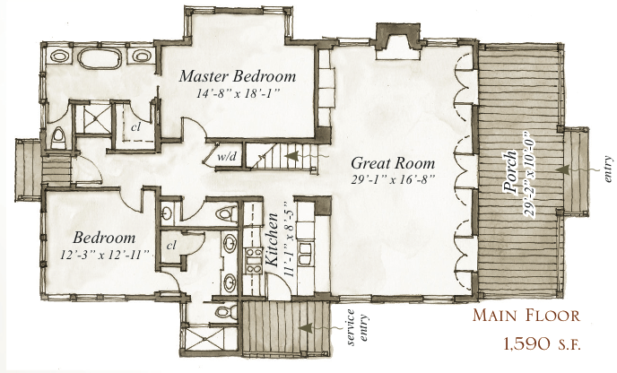 House plan 41 daphne way by our town plans for Our town house plans