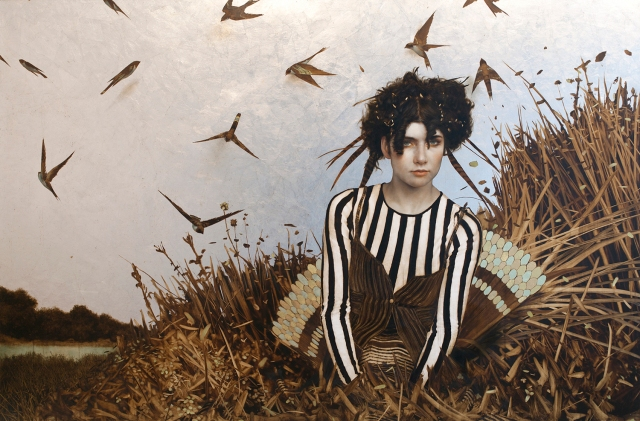 "The History of Nature by Brad Kunkle 46x72"" Oil, Gold & Silver on Linen"