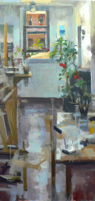 """Studio Interior Incorporating Constant Revisions and the Passing of Time by Gage Opdenbrouw 24x12"""" Oil on Canvas"""