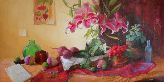 "Botanica by Gayle Levee 22x38"" Oil"