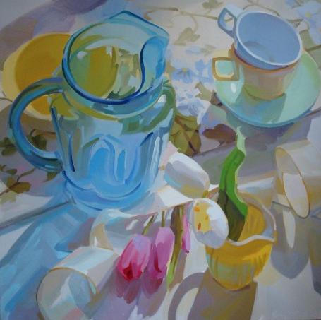 Blue Tulip Pitcher by Karen O'Neil 30x30 Oil