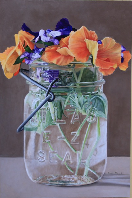 "Orange Pansies by Peggie Blizard 36x24"" Oil on Panel"