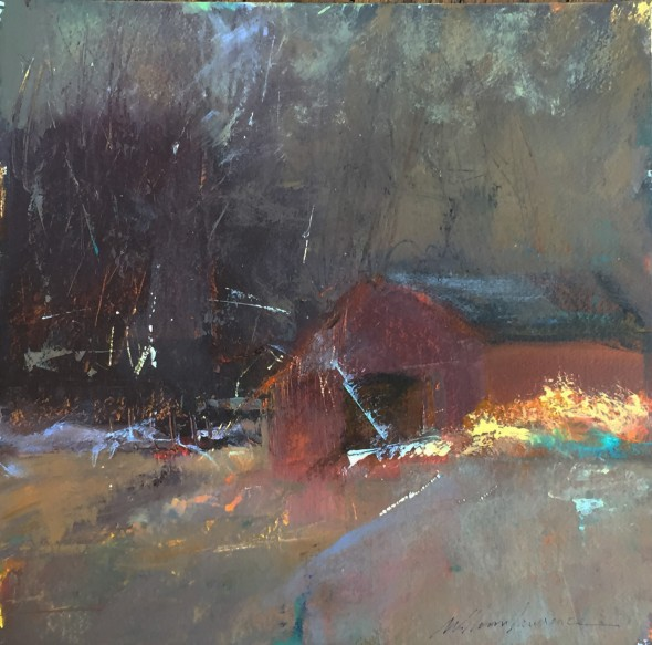 February Studio by Skip Lawrence 15x15 Acrylic on Rag Paper