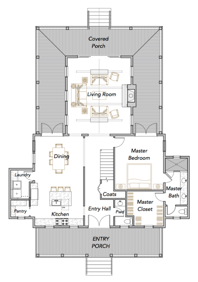Compass Cove plan by Flatfish Island Designs