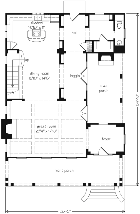 House plan taylor creek by john tee for Side porch house plans