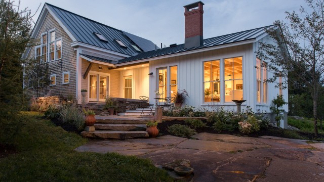 cortland farmhouse exterior night