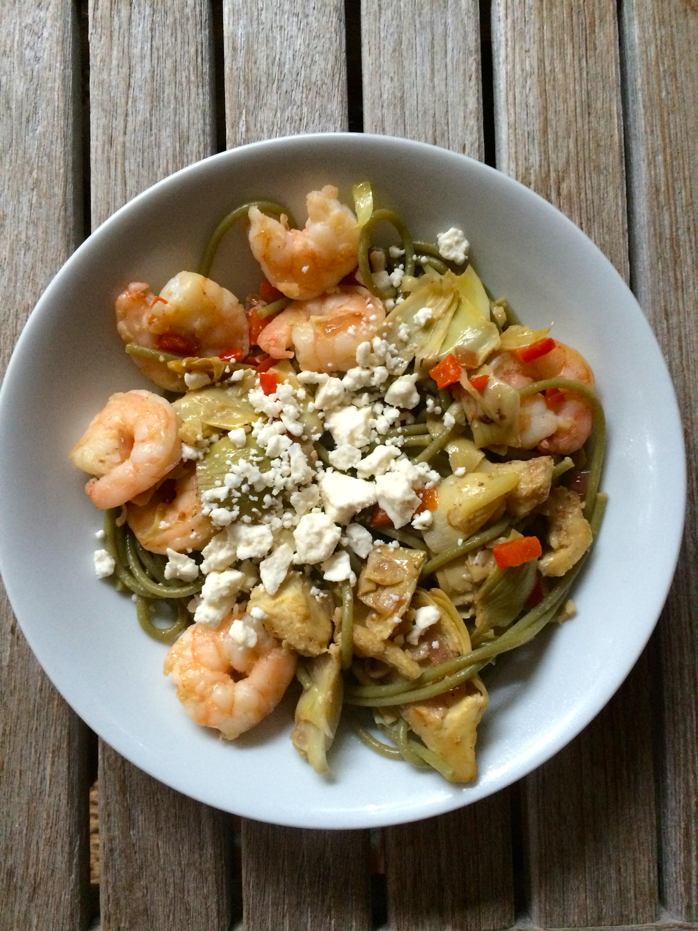 Med Pasta (shrimp, feta, spinach pasta, artichokes) so ...