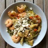 Recipe Reminder: Med Pasta with Shrimp, Feta, Artichokes, Peppers - A favorite!