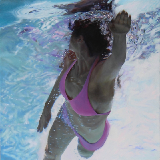 "Pink Top Swim To by Matt Story 36x36"" Oil/Robert Lange Studios"