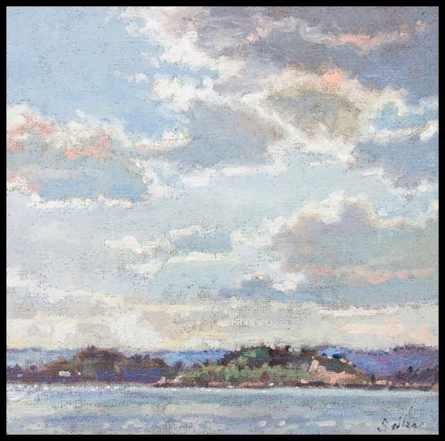 View from Sunset Point - Marquette, MI by Larry Seiler 8x8%22 Oil