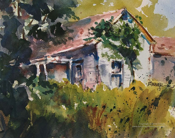 The Old Farmhouse by David Finnell 9x12%22 Watercolor