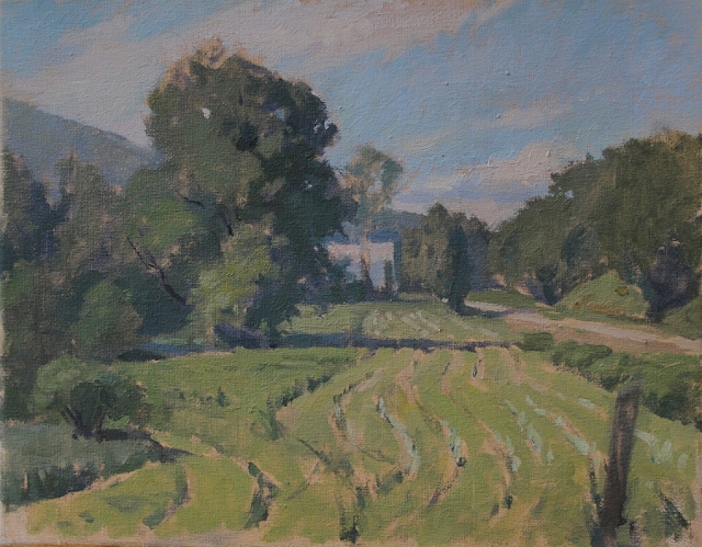 Field at Richville and River by Carol Fortunato 9x12 Oil